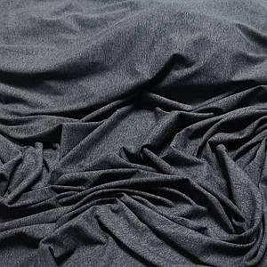 Ткань кулир без стрейча темно-серый меланж, хлопок