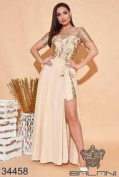Вечернее гипюровое мини платье с длинной юбкой в комплекте с 42 по 52 размер