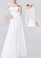 Красивое свадебное платье длинное в пол с рукавами из гипюра и шифона СВ-582-6