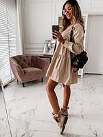 Стильне жіноче коттоновое сукня вільного крою, з довгими рукавами, на гудзиках спереду(42-46), фото 1