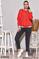 Куртка женская красная короткая батал (размеры от 50 до 64)