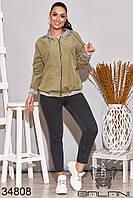 Куртка женская цвета хаки короткая батал (размеры от 50 до 64)