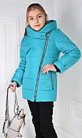 Демисезонная куртка-косуха на девочку бирюзового цвета