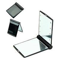 🔝Карманное зеркальце подсветкой Make-Up Mirror 8 LED Черное зеркало для макияжа (дзеркало з підсвіткою) | 🎁%🚚
