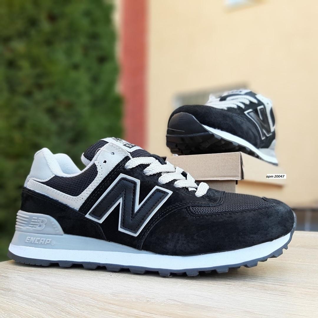 Женские замшевые кроссовки New Balance 574 (черные) 20047