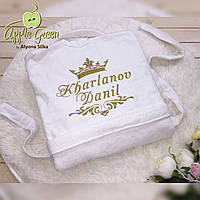 Белый махровый халат с вышивкой на заказ, фото 1