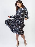 Свободное платье size + в цветочный принт 2959