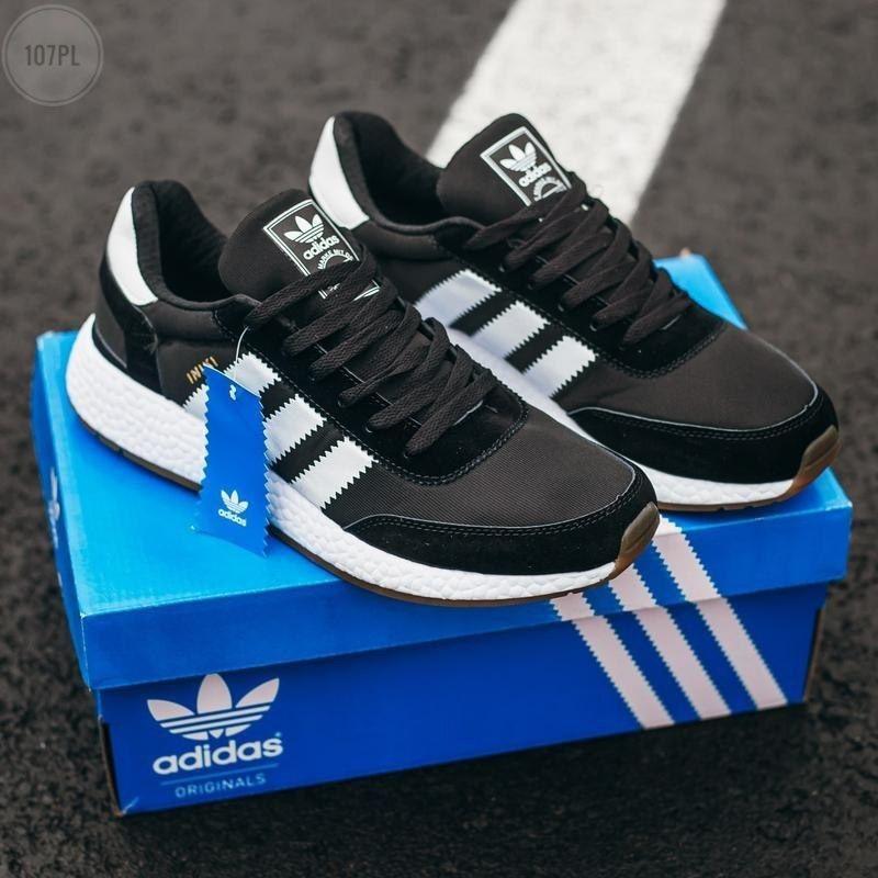 Мужские кроссовки Adidas Iniki (черно-белые) 107PL