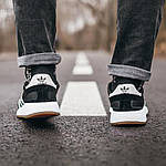 Мужские кроссовки Adidas Iniki (черно-белые) 107PL, фото 5
