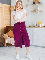Вельветовая юбка миди на пуговицах 2931, фото 1