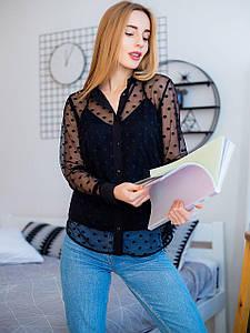 Двойка: блуза из сетки в горошек + майка на бретельках 2936