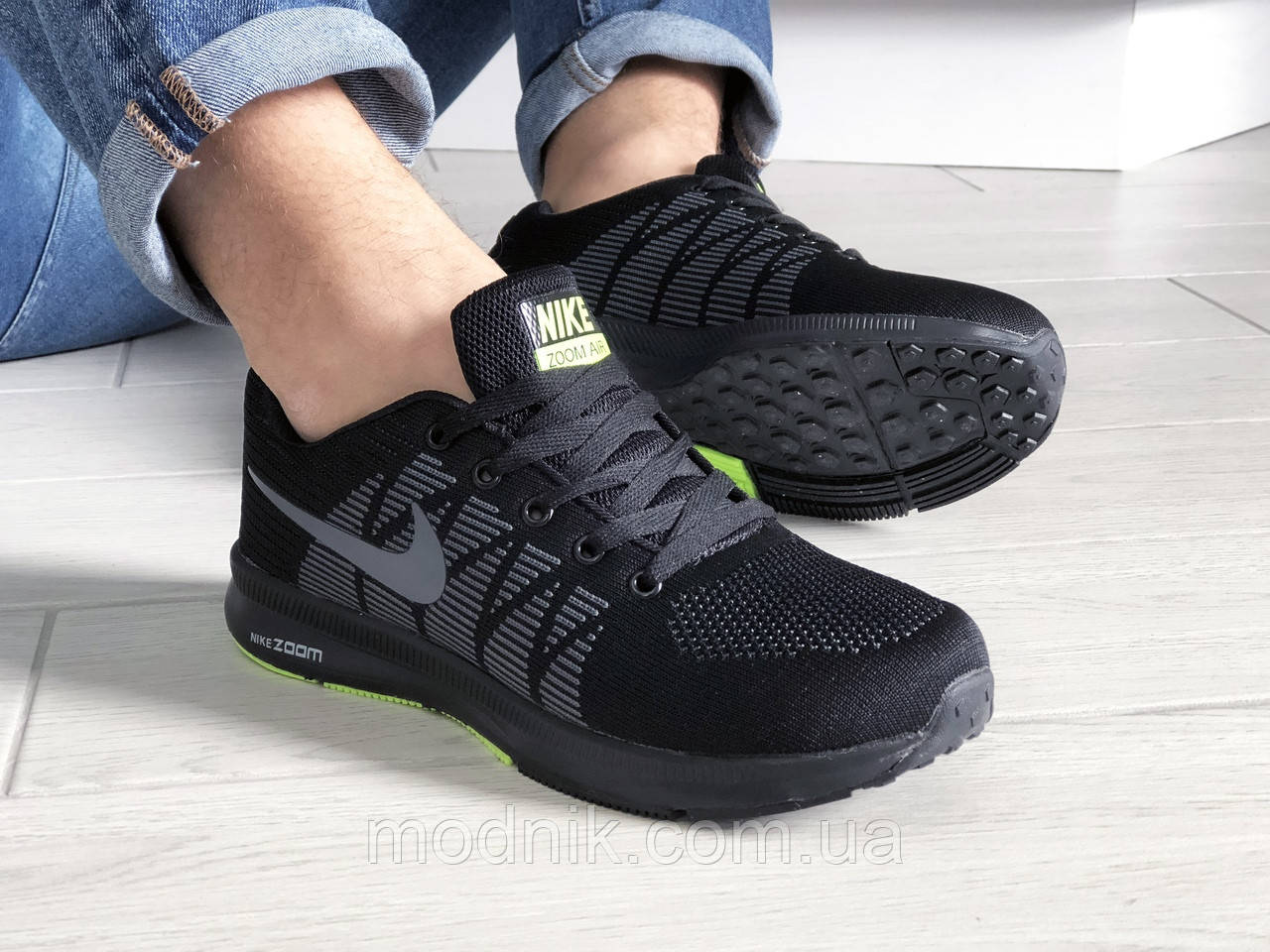 Мужские кроссовки Nike ZOOM (черно-серые с салатовым) 9242