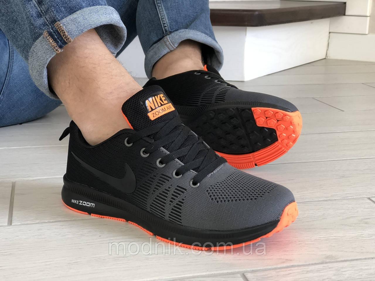 Мужские кроссовки Nike ZOOM (серо-черные с оранжевым) 9245