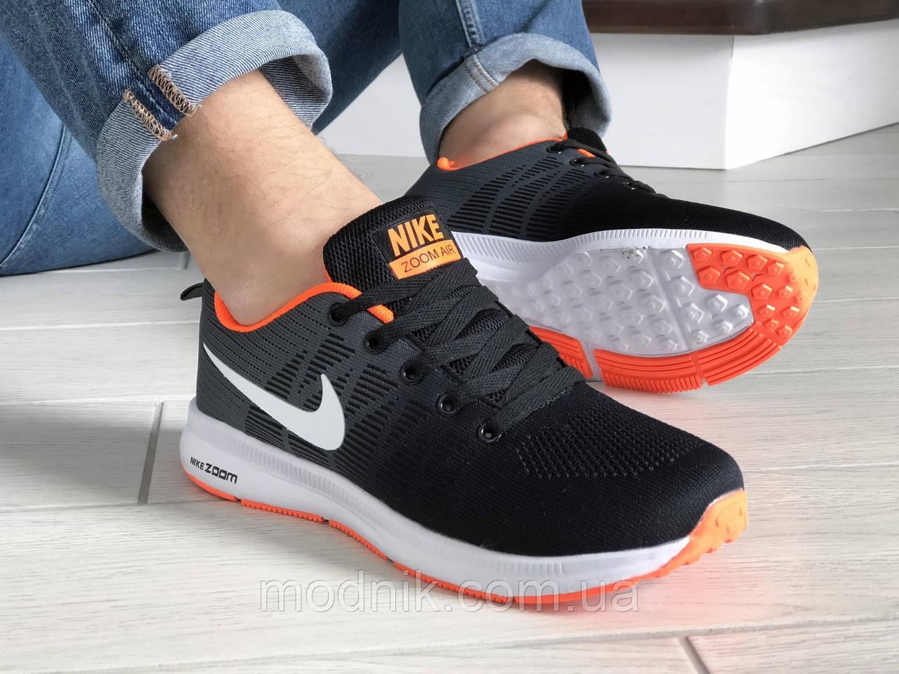 Мужские кроссовки Nike ZOOM (черно-белые с оранжевым) 9247