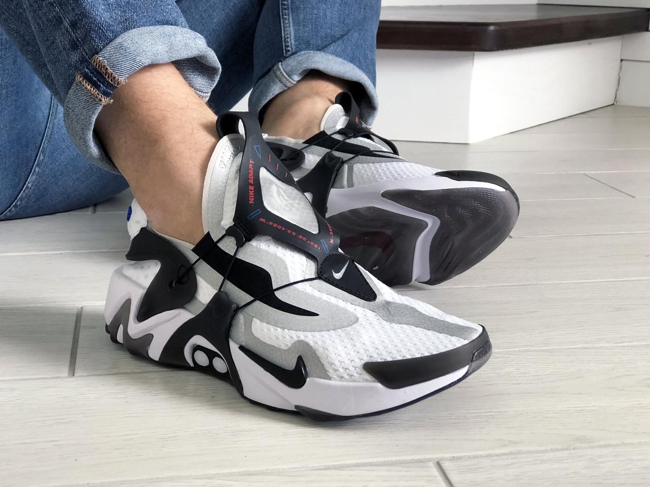 Мужские кроссовки Nike Adapt Huarache (бело-черные) 9241