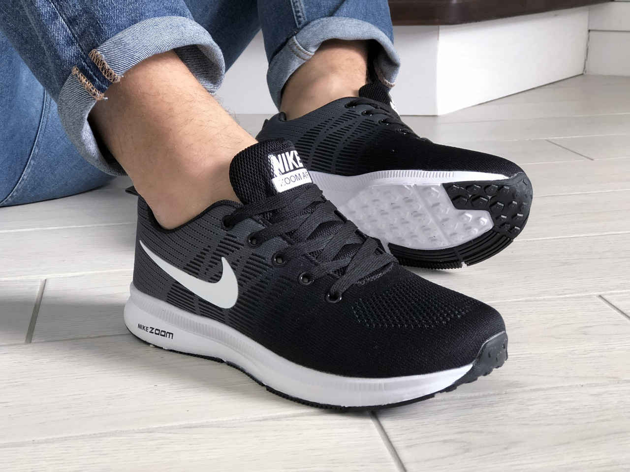 Мужские кроссовки Nike ZOOM (черно-серые с белым) 9243