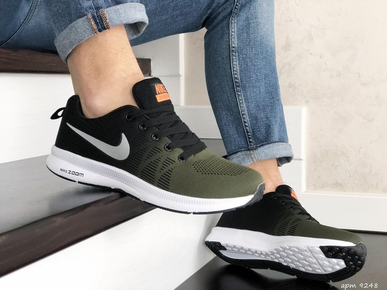 Мужские кроссовки Nike ZOOM (темно-зеленые с черным и белым) 9248