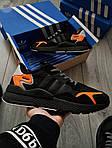 Чоловічі кросівки Adidas Nite Jogger (чорно-помаранчеві) 357PL, фото 5