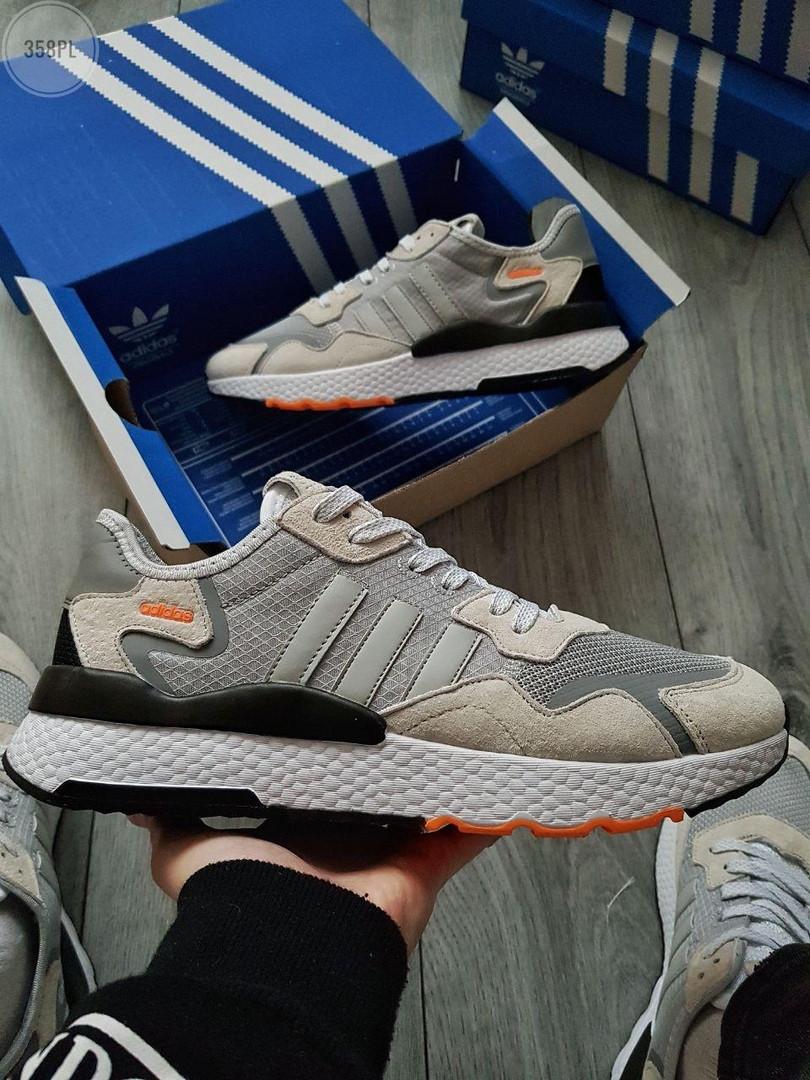 Мужские кроссовки Adidas Nite Jogger (черно-оранжевые) 358PL