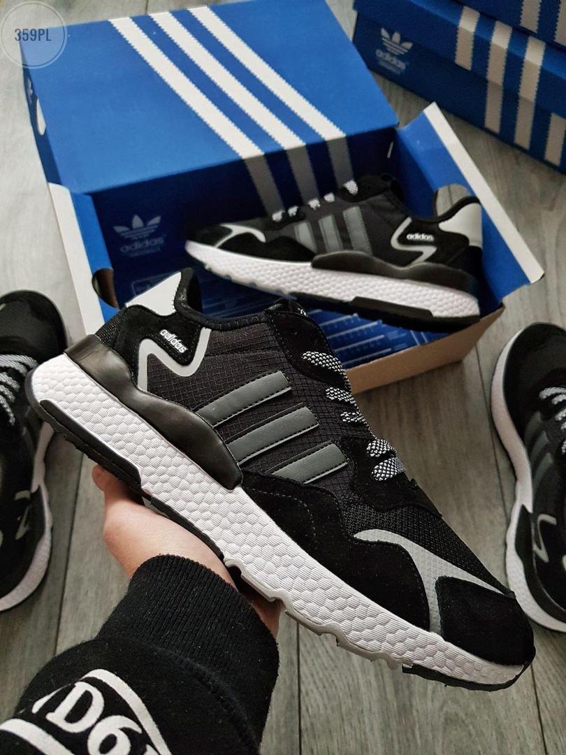 Мужские кроссовки Adidas Nite Jogger (черно-белые) 359PL