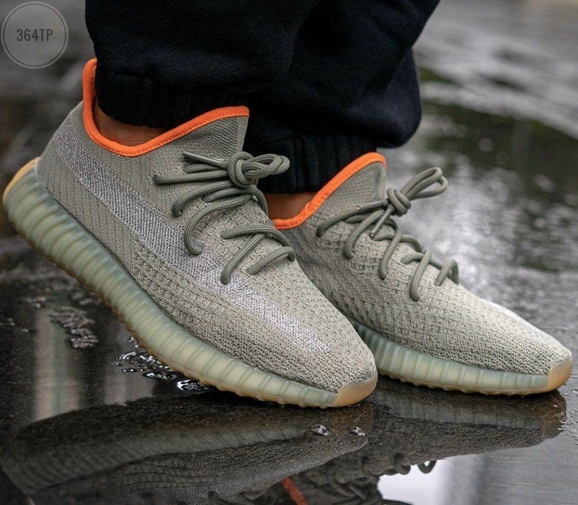 Мужские кроссовки Adidas Yeezy 350 v2 «Desert Sage» (серые) 364TP