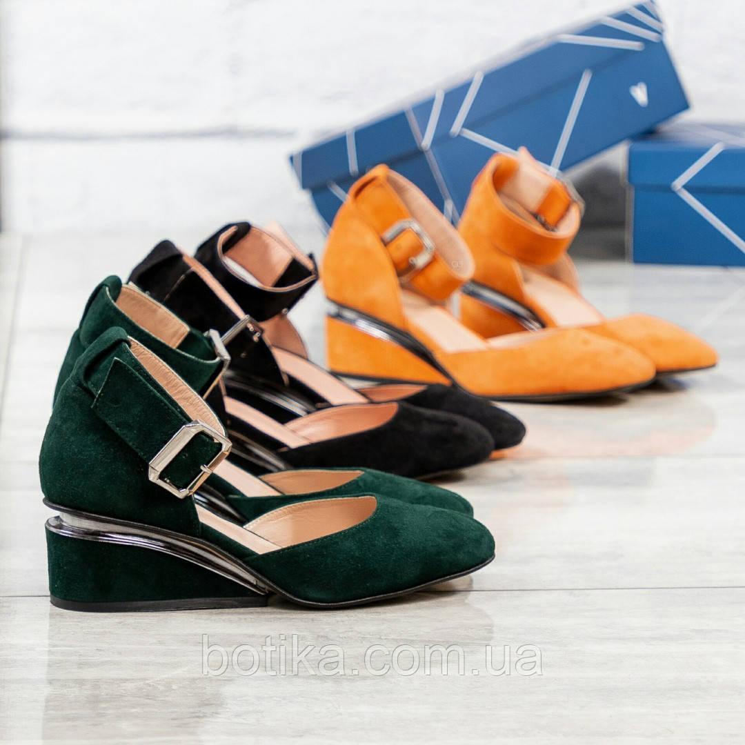Черный, зеленый, оранж! Элитная коллекция! Шикарные туфли из итальянской замши