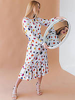 Нежное платье с рюшей по низу и поясом 2945, фото 1