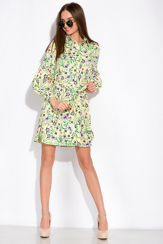 Цветочное платье с объемными рукавами 103P492 (Лимонный/принт)