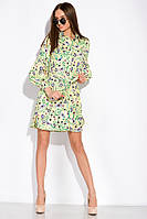 Цветочное платье с объемными рукавами 103P492 (Лимонный/принт), фото 1