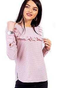 Платье в горох с рюшей на кокетке 2662