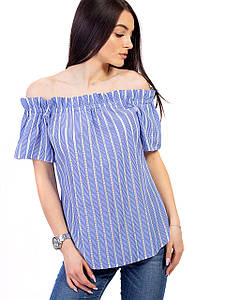 Платье в полоску с поясом и открытыми плечами 2643