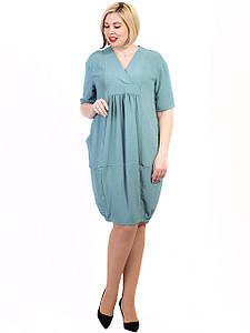 Свободное платье size + с V-образным вырезом и карманами 2715