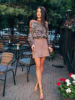 Укорочена блуза с анималистические принтом и сеткой 2723, фото 1
