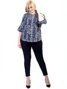 Принтованные блуза size + с вырезами на рукавах 2706