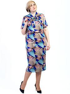 Платье size + с геометрическим принтом и завязкой бантом 2726