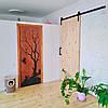 """Межкомнатная деревянная арт дверь """"Дерево и птица""""."""