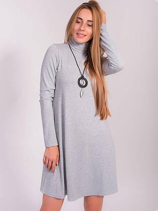 Трикотажное платье трапеция с кулоном 2842, фото 3