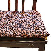 Подушка на стул/табурет 40х40х5 см, коричневая принт Леопард, без завязок
