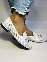 Хит! Женские летние туфли-балетки с перфорацией белого цвета Турция.36.37..Vellena