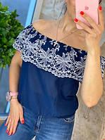 Блузка женская с вышивкой. Хлопок. 44-48 р