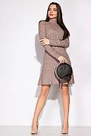 Платье с изящным воланом 120PSS004 (Пудровый)