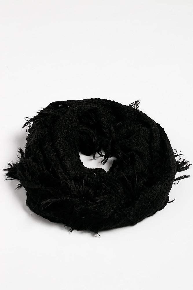 Вязаный женский шарф 120PROS005 (Черный)