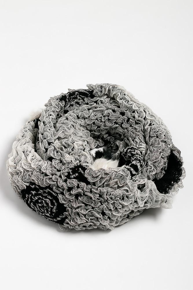 Шарф женский 120PROS006 (Черно-белый)