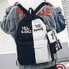 Городской рюкзак  черный с белым HELLOU THE BAG с пеналом в комплекте, фото 4