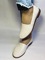 Molka. Жіночі балетки -мокасини з натуральної шкіри.Білий і бежевий 36 38 39 40.Vellena, фото 5