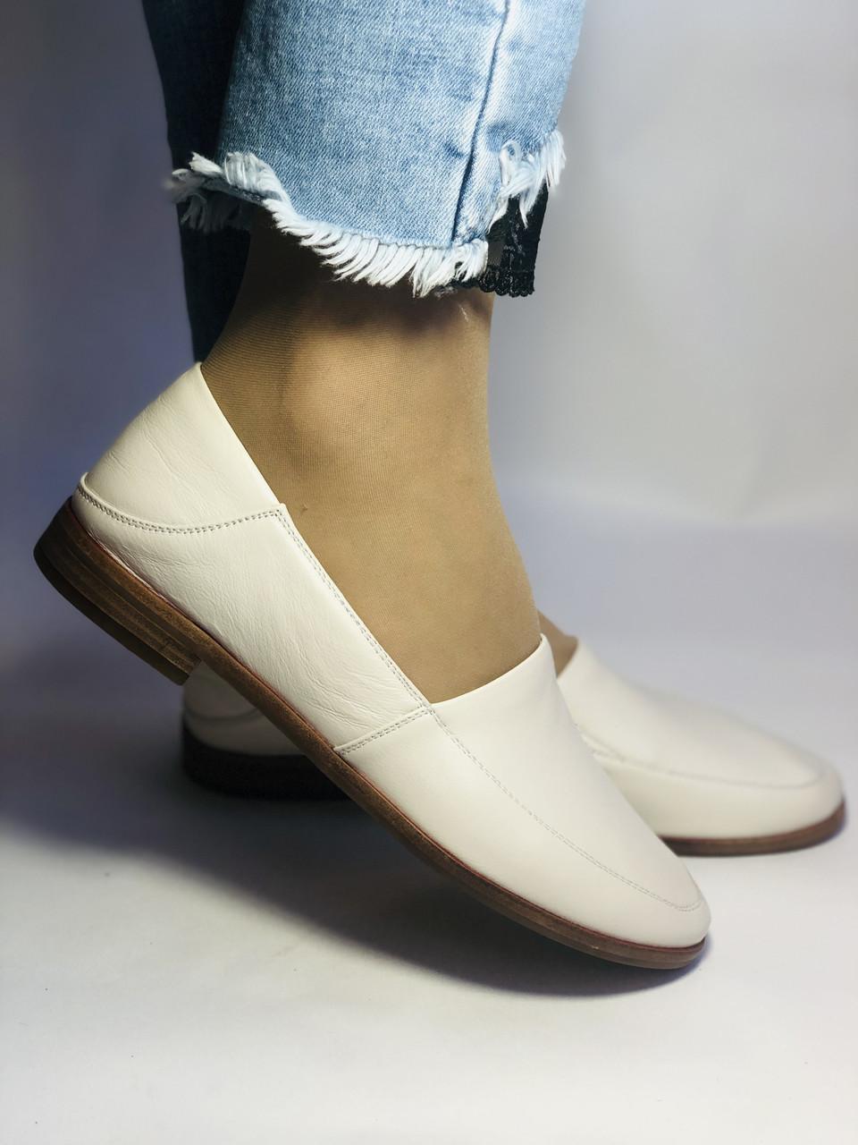 Molka. Жіночі балетки -мокасини з натуральної шкіри.Білий і бежевий 36 38 39 40.Vellena