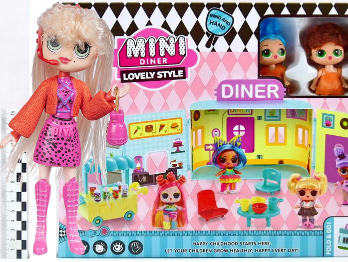 "Игровой набор \""Куколки LOL OMG: Мини кафе с 2 куклами и аксессурами\""  + Кукла LOL OMG 1201 в подарок"