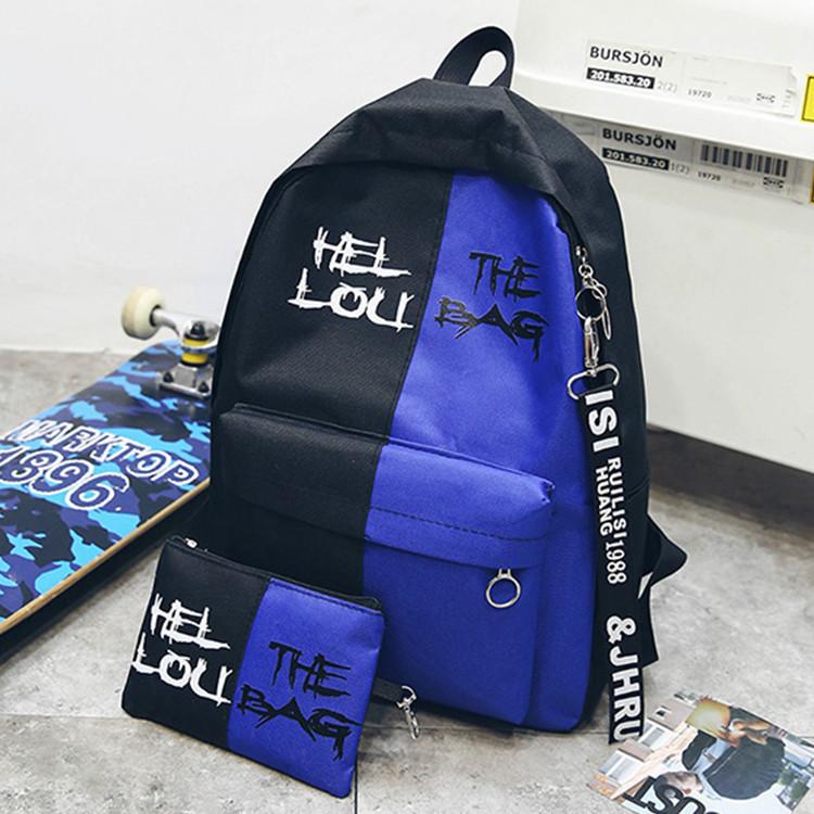 Городской рюкзак  черный с синим HELLOU THE BAG с пеналом в комплекте