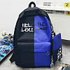 Городской рюкзак  черный с синим HELLOU THE BAG с пеналом в комплекте, фото 2