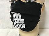 Защитная чёрная с накатом маска  на лицо хлопковая многоразовая, фото 5
